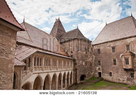 Beautiful view of the Huniazi castle yard in Romania