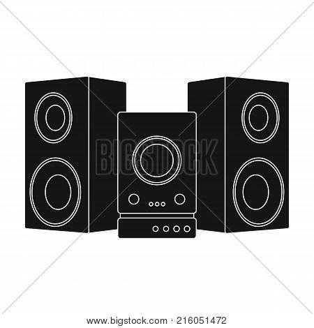 Musical, center, single icon in black style.Musical, center, vector symbol stock illustration .