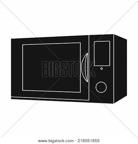 Microwave, single icon in black style.Microwave, vector symbol stock illustration .