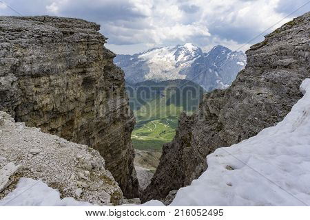 View of the Marmalade massif from the summit of the Sass Pordoi. Dolomites.