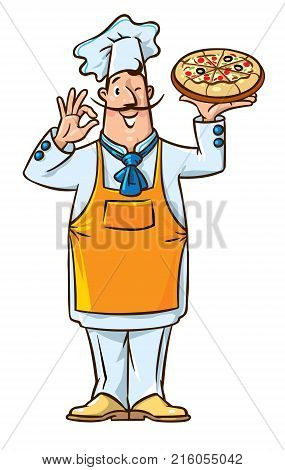 Chef with pizza. Funny baker man with mustaches in baker hat, coat and apron. Children vector illustration.