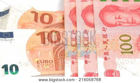 Chinese Currency Yuan Rmb And Euro Bill