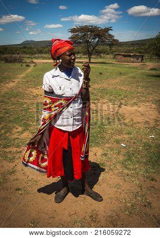Woman Of Masai Village, Kenia