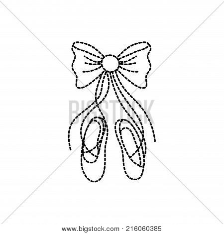 dotted shape ballet shoes style with ribbon bow vector illustration