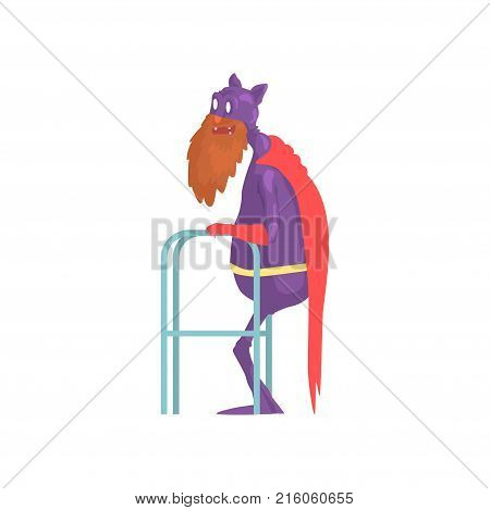 Old bearded superhero with paddle walker. Grandfather character in classic hero costume with mantle, gloves and mask with funny ears. Comics flat vector illustration isolated on white background.