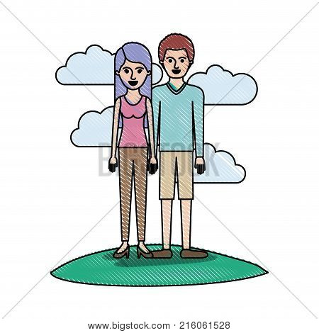 couple in colored crayon silhouette scene outdoor and her with t-shirt sleeveless and pants and heel shoes with long straight hair and him with sweater and short pants and shoes with short hair vector illustration
