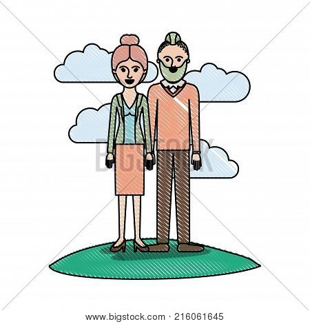 couple in colored crayon silhouette scene outdoor and her with blouse and jacket and skirt and heel shoes with collected hair and him with beard and sweater and pants and shoes with taper fade haircut vector illustration