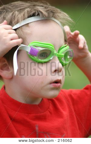Young Boy With Swim Goggles
