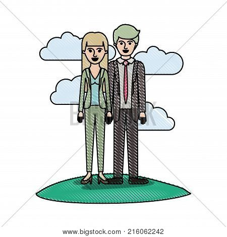 couple in colored crayon silhouette scene outdoor and her with blouse and jacket and pants and heel shoes with straight long hair and him with suit and tie and pants and shoes with short hair vector illustration