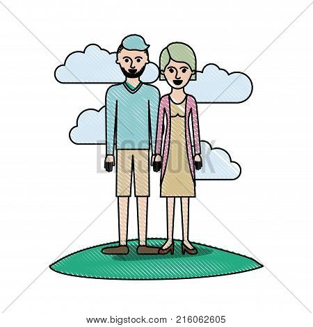 couple in colored crayon silhouette scene outdoor and him with t-shirt long sleeve and short pants and shoes with high fade haircut and stubble beard and her with blouse and jacket and skirt and heel shoes with short hair vector illustration