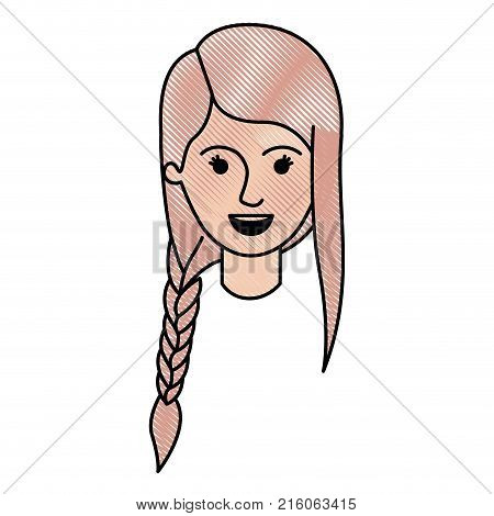 female face with braid and fringe hairstyle in colored crayon silhouette vector illustration