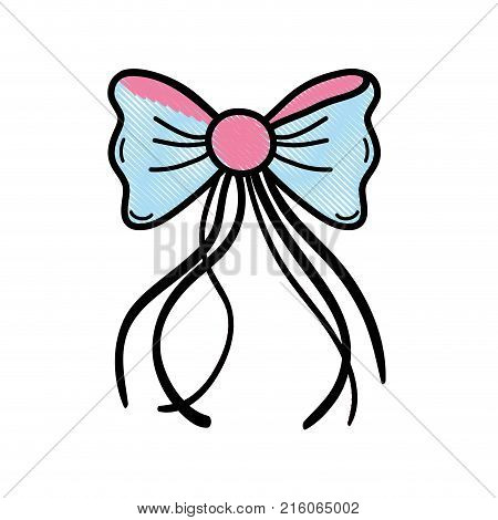 grated ribbon bow with slats decoration design vector illustration