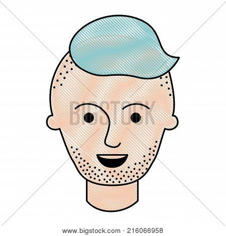 male face with high fade haircut and stubble beard in colored crayon silhouette vector illustration