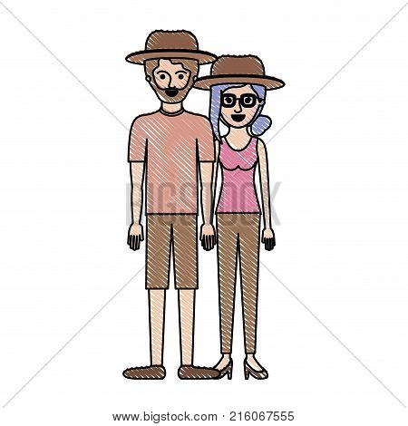 couple in colored crayon silhouette and both with hat and him with beard with t-shirt and short pants and shoes and her with glasses t-shirt sleeveless and pants and heel shoes with collected hair and fringe vector illustration