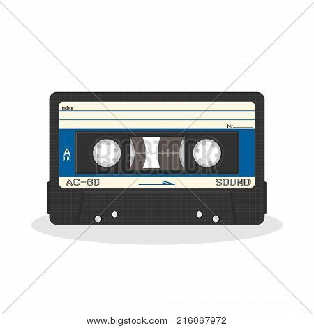 Retro audio cassette design isolated on a white background. Vintage style music storage icon. Old record player tape. Vector illustration.