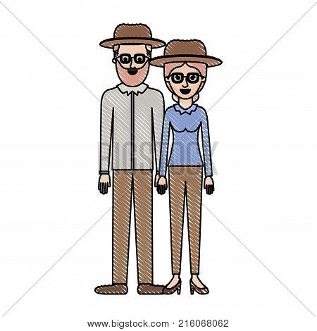 couple in colored crayon silhouette and both with hat and glasses and him with beard and shirt and pants and shoes and her with blouse long sleeve and pants and heel shoes with collected hair vector illustration