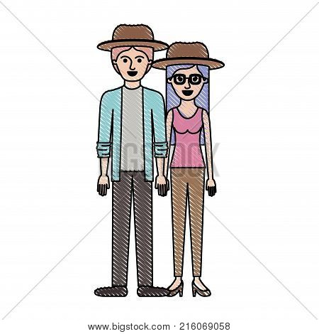 couple in colored crayon silhouette and both with hat and pants and him with shirt and jacket and pants and shoes and her with blouse and heel shoes with long straight hair vector illustration
