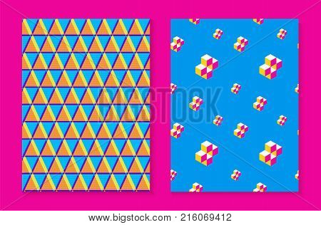 Abstract Retro Seamless Pattern Set In 80S Fashion