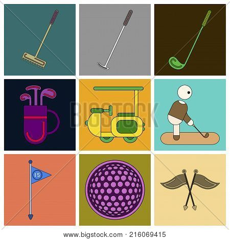 Set of Icons in flat design Golf equipments