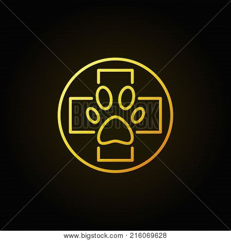 Dog paw in cross yellow icon - vector veterinary concept symbol in thin line style on dark background