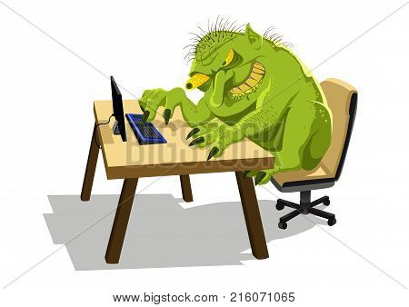 Internet Troll sitting at office desk on a computer.