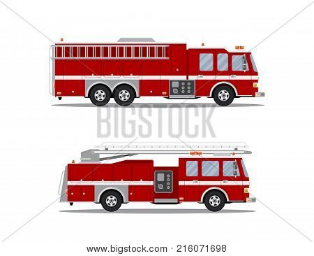 Picture of two fire trucks isolated on white background. Flat style illustration.