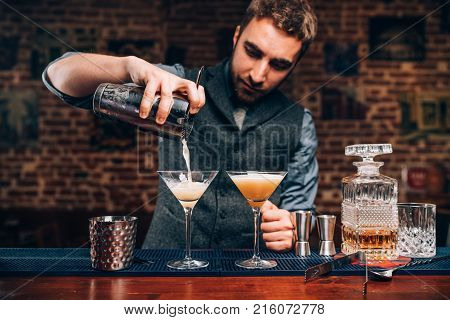 Barman Creating Professional Cocktails. Details Of Alcoholic Drinks And Beverages At Pub Or Bar