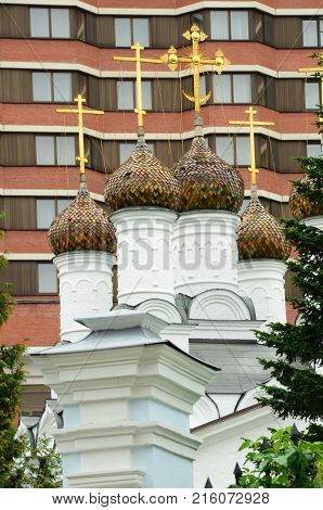 A view of the Domes of St. Nicolas church in Moscow
