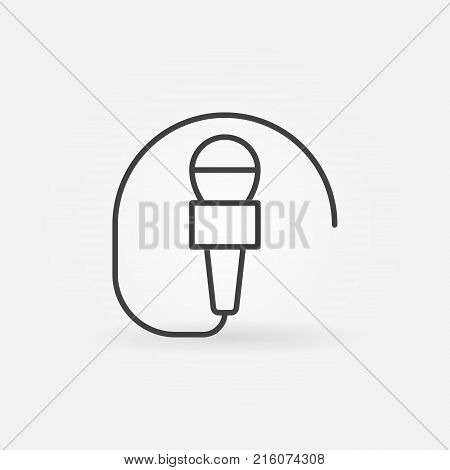 Wired mic vector concept icon or symbol in thin line style