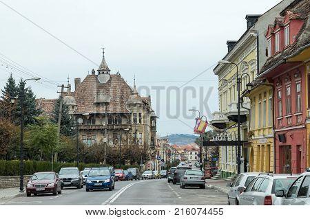 Sighisoara Romania October 08 2017 : Ilarie Chendi Street in the old city of Sighisoara in Romania