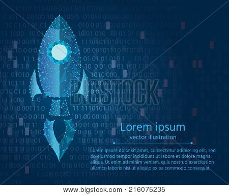 rocket low-polygonal illustration flying vertically glowing neon. concept of start-up.vector illustration abstract geometric polygonal image mash line and point.