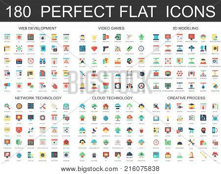 180 modern flat icons set of web development, video games, 3d modeling, network cloud technology, creative process icons