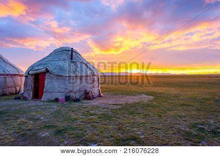 Yurts In Sunset, Song Kul, Kyrgyzstan