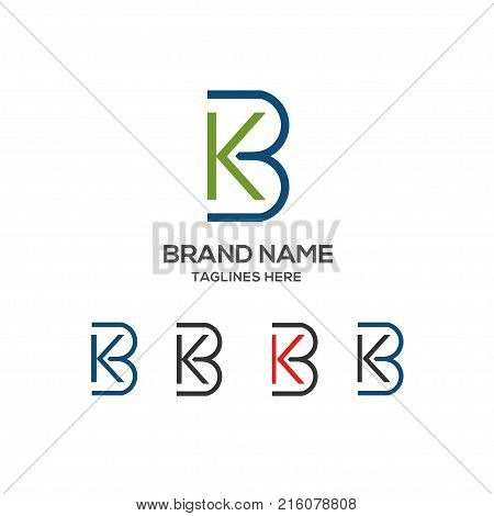 KB letter logo design vector illustration template,K letter logo vector, letter K and B logo vector, creative Letter KB letter logo