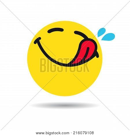 Hungry emoticon or emoji symbol. Yummy yellow smiley in a flat design on white background. Vector emoticon tasty icon poster