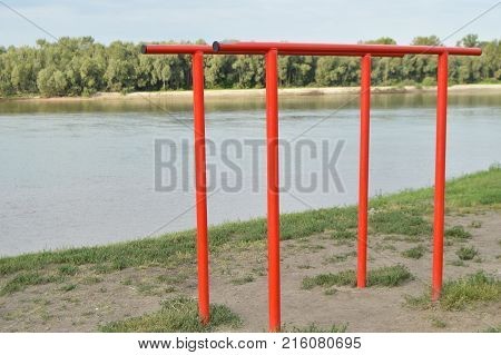 Street Sports Ground On The Banks Of The River, The Bar For Sports Activities