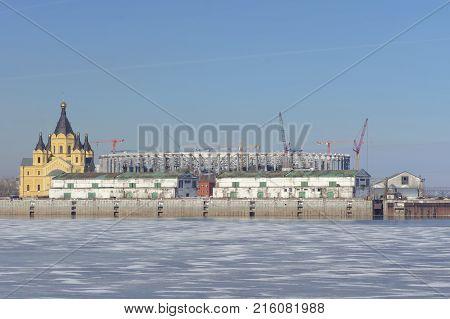 Nizhny Novgorod, Russia. - March 14.2017. Paid Parking Near The River Station.
