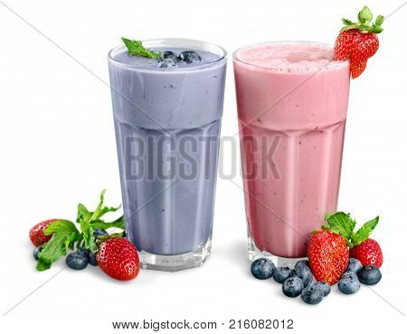 Isolated smoothies color white background nobody closeup