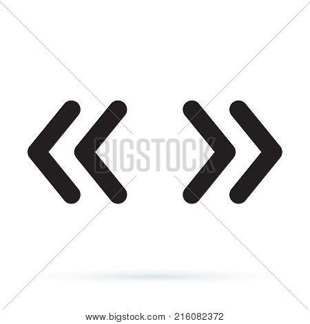 Vector double rounded chevron arrows. Fast forward skip or next and previous sidebar tab icon. Web Symbol isolated on white background
