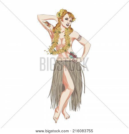 Concept of retro woman woman dancing in Hawaiian dress. Vintage hula girl dancing on the beach