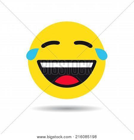 Joke emoticon or emoji symbol. Cry yellow smiley in a flat design on white background. Vector emoticon funny icon