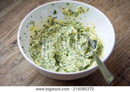 Herbs Butter, Sandwich With Green Homemade Butter, Tasty Breakfast