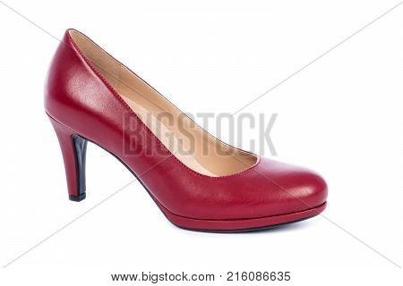 Women's Red Leather Pump Shoe Isolated on White
