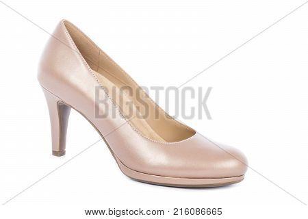 Women's Nude High Heel Pump Shoe Isolated on White