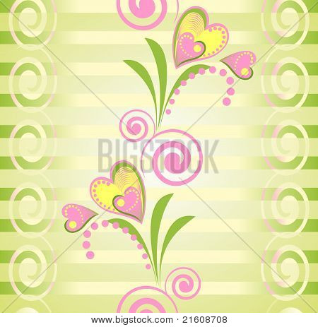 Flower heart stripe seamless pattern