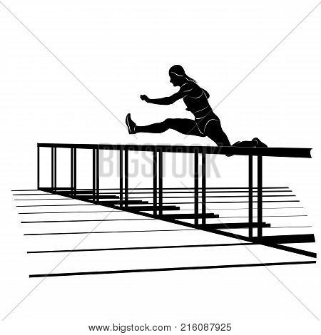 Vector silhouette of running sportswoman jumping over hurdle. Female athlete on hurdle sprint race