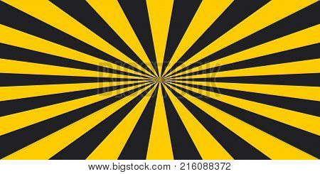 stripe rays safety warning dangerous pop art style background, vector sign Ionizing Biological yellow and black rays, glow, Hazard symbol stripe rays safety warning background
