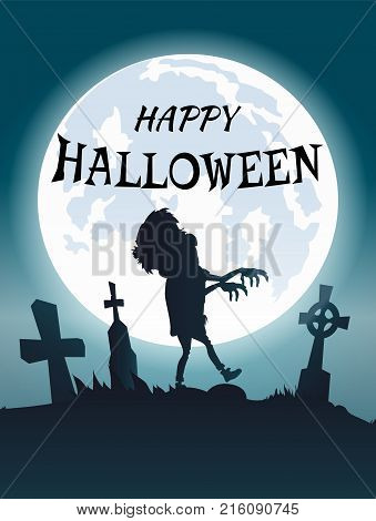 Happy Halloween scary congratulation postcard with zombie wandering at foggy spooky graveyard. Vector illustration with undead creature under white moon
