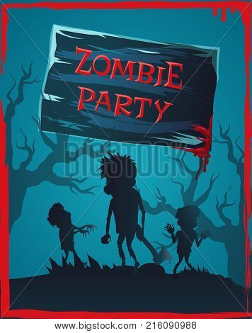 Zombie party invitation with scary monsters in foggy night leafless forest. Vector illustration with dangerous creatures among mysterious trees