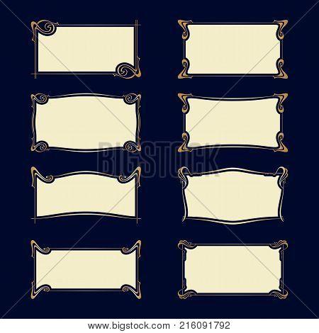 Vector Set Of Art Nouveau Frames For Print And Design.